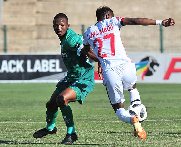 Harris Tchilimbou of Free State Stars challenged by Butholezwe Ncube of AmaZulu during the Absa Premiership 2018/19 match between AmaZulu and Free State Stars at King Zwelithini Stadium, Durban on 19 August 2018 ©Samuel Shivambu/BackpagePix