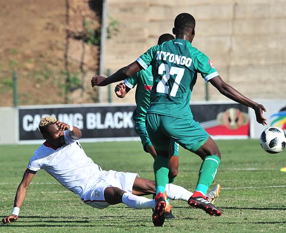 Harris Tchilimbou of Free State Stars challenged by Tapelo Nyongo of AmaZulu during the Absa Premiership 2018/19 match between AmaZulu and Free State Stars at King Zwelithini Stadium, Durban on 19 August 2018 ©Samuel Shivambu/BackpagePix