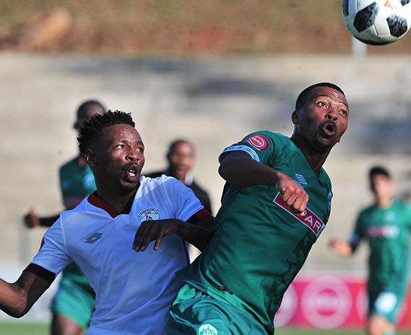 Thembela Sikhakhane of AmaZulu challenged by Sinethemba Jantjie of Free State Stars during the Absa Premiership 2018/19 match between AmaZulu and Free State Stars at King Zwelithini Stadium, Durban on 19 August 2018 ©Samuel Shivambu/BackpagePix