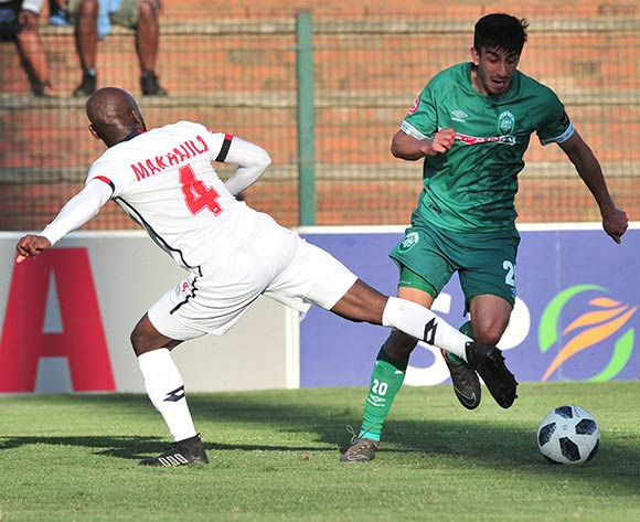 Emiliano Tade of AmaZulu tackled by Makhehleni Makhaula of Free State Stars during the Absa Premiership 2018/19 match between AmaZulu and Free State Stars at King Zwelithini Stadium, Durban on 19 August 2018 ©Samuel Shivambu/BackpagePix