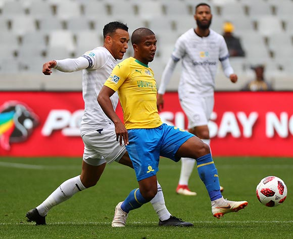 Lyle Lakay of Mamelodi Sundowns challenged by Matthew Rusike of Cape Town City FC during the 2018 MTN 8 Semifinal first leg football match between Cape Town City FC and Mamelodi Sundowns at Cape Town Stadium, Cape Town on 25 August 2018 ©Chris Ricco/BackpagePix