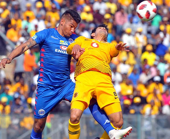 Clayton Daniels of Supersport United challenges Leonardo Castro of Kaizer Chiefs during the MTN8 Semi Final first Leg match between Supersport United and Kaizer Chiefs on the 26 August 2018 at Lucas Moripe Stadium/ Pic Sydney Mahlangu/BackpagePix