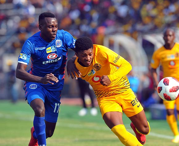 Ghampani Lungu of Supersport United challenges Dumisani Zuma of Kaizer Chiefs during the MTN8 Semi Final first Leg match between Supersport United and Kaizer Chiefs on the 26 August 2018 at Lucas Moripe Stadium/ Pic Sydney Mahlangu/BackpagePix