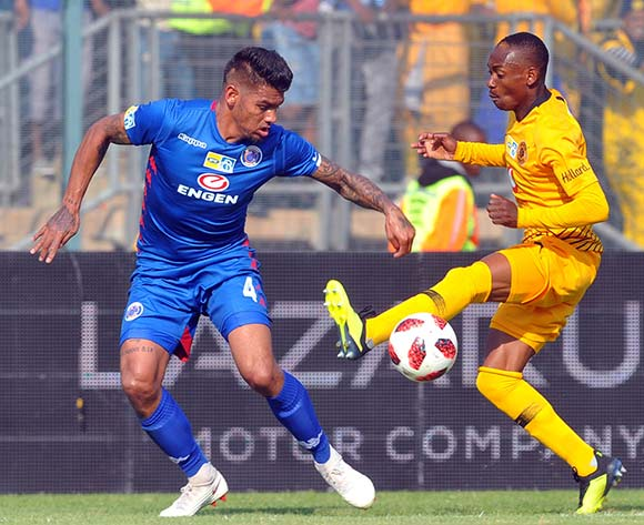 Clayton Daniels of Supersport United challenges Khama Billiat of Kaizer Chiefs during the MTN8 Semi Final first Leg match between Supersport United and Kaizer Chiefs on the 26 August 2018 at Lucas Moripe Stadium/ Pic Sydney Mahlangu/BackpagePix