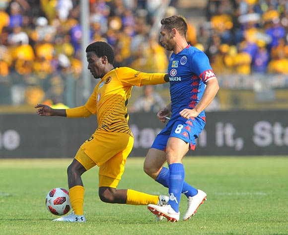 Siphelele Ntshangase of Kaizer Chiefs is challenged by Dean Furman of Supersport United during the MTN8 Semi Final first Leg match between Supersport United and Kaizer Chiefs on the 26 August 2018 at Lucas Moripe Stadium/ Pic Sydney Mahlangu/BackpagePix
