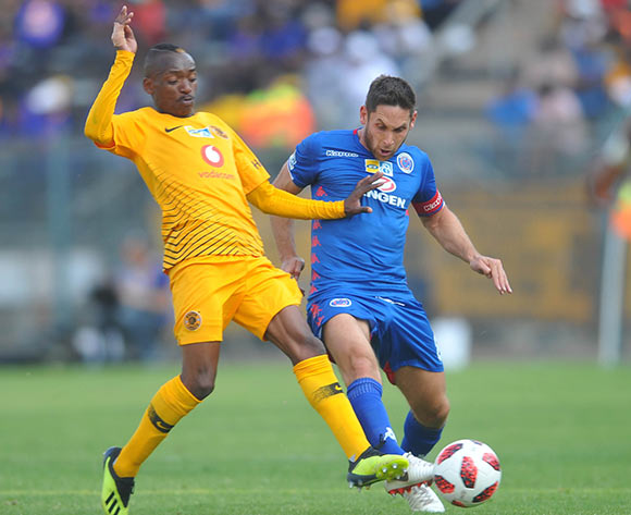 Khama Billiat of Kaizer Chiefs challenges Dean Furman of Supersport United during the MTN8 Semi Final first Leg match between Supersport United and Kaizer Chiefs on the 26 August 2018 at Lucas Moripe Stadium/ Pic Sydney Mahlangu/BackpagePix