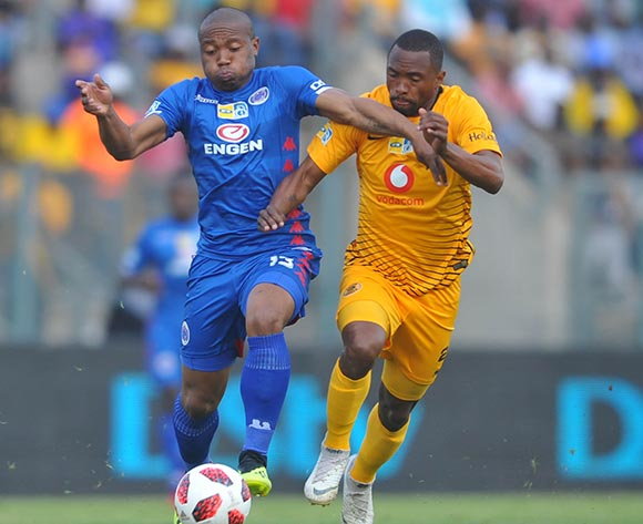Bernard Parker of Kaizer Chiefs challenges Thuso Phala of Supersport United during the MTN8 Semi Final first Leg match between Supersport United and Kaizer Chiefs on the 26 August 2018 at Lucas Moripe Stadium/ Pic Sydney Mahlangu/BackpagePix
