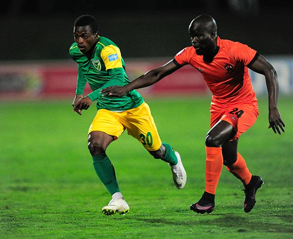 Simphiwe Hlongwane of Polokwane City FC chases hard after Siboniso Conco of Lamontville Golden Arrows during the Absa Premiership 2018/19 game between Golden Arrows and Polokwane City at Princess Magogo Stadium on 29 August 2018 © Gerhard Duraan/BackpagePix