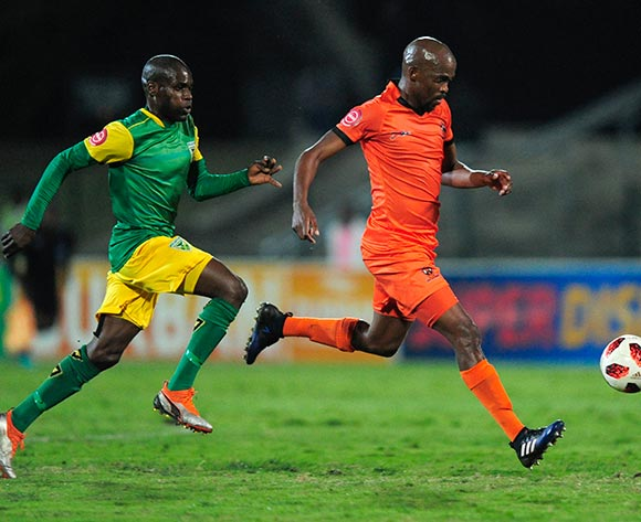 Lerato Lamola of Lamontville Golden Arrows chases hard to catch Sibusiso Mbonani of Polokwane City FC during the Absa Premiership 2018/19 game between Golden Arrows and Polokwane City at Princess Magogo Stadium on 29 August 2018 © Gerhard Duraan/BackpagePix
