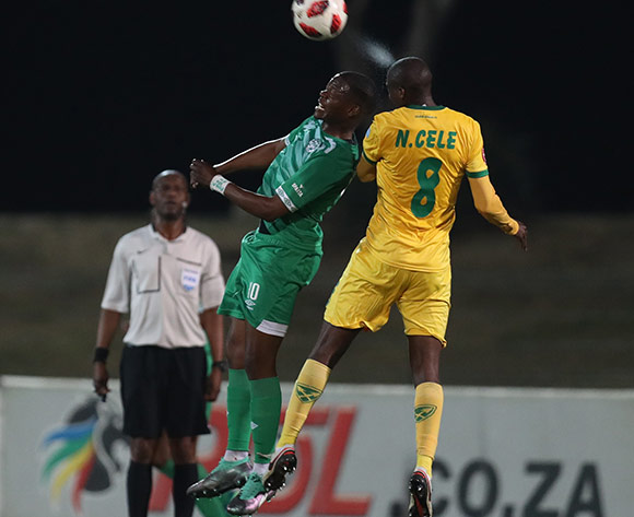 Ndumiso Mabena of Bloemfontein Celtic F.C. and  Nkanyiso Cele of Golden Arrows during the Absa Premiership 2018/19 game between Golden Arrows and Bloemfontein Celtic at Princess Magogo Stadium, KwaZulu-Natal on 8 August 2018 © Steve Haag/BackpagePix