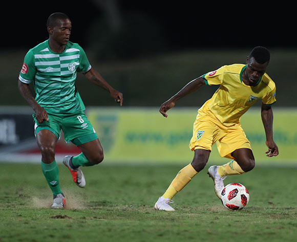 Knox Mutizwa of Golden Arrows and Lantshene Phalane of Bloemfontein Celtic during the Absa Premiership 2018/19 game between Golden Arrows and Bloemfontein Celtic at Princess Magogo Stadium, KwaZulu-Natal on 8 August 2018 © Steve Haag/BackpagePix