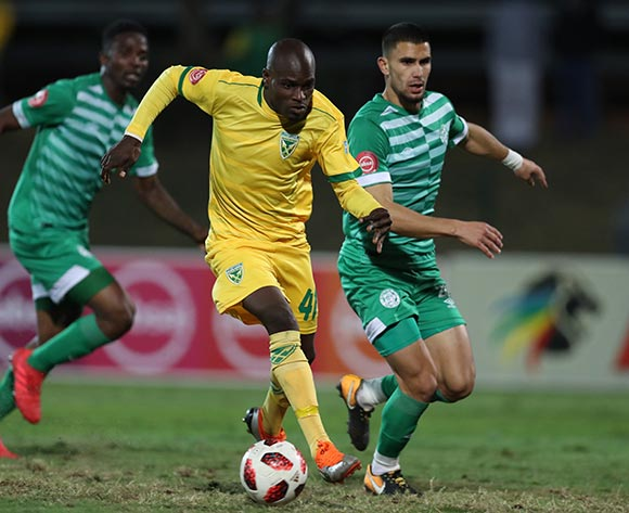 Lerato Lamola of Golden Arrows and Lorenzo Joao Gordinho of Bloemfontein Celtic during the Absa Premiership 2018/19 game between Golden Arrows and Bloemfontein Celtic at Princess Magogo Stadium, KwaZulu-Natal on 8 August 2018 © Steve Haag/BackpagePix