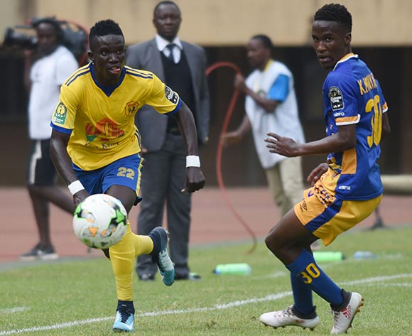 Julius Poloto of KCCA FC (Uganda) evades challenge from Kago Monyake of Township Rollers FC (Botswana) during the 2018 Caf Champions League on 18 August 2018 at Mandela Stadium, Namboole, Kampala. ©Ismail Kezaala/BackpagePix
