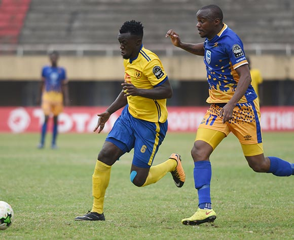 Joel Otlogetswe Mogorosi of Township Rollers FC (Botswana) challenges Juma Sadam Ibrahim of KCCA FC (Uganda) during the 2018 Caf Champions League on 18 August 2018 at Mandela Stadium, Namboole, Kampala. ©Ismail Kezaala/BackpagePix