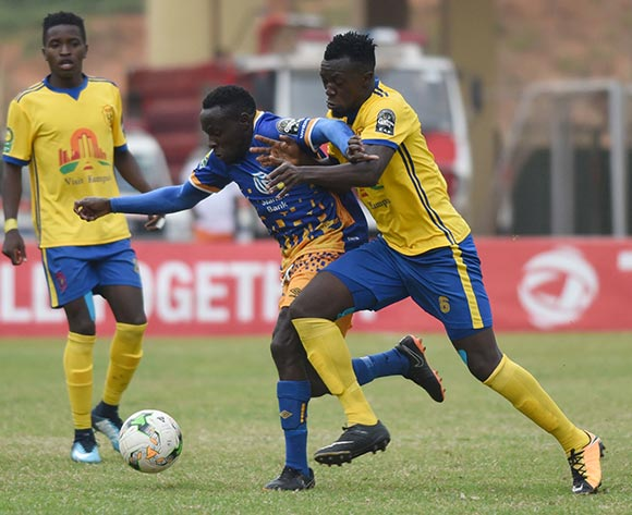 Juma Sadam Ibrahim of KCCA FC (Uganda) challenges Ivan Ntege of Township Rollers FC (Botswana) during the 2018 Caf Champions League on 18 August 2018 at Mandela Stadium, Namboole, Kampala. ©Ismail Kezaala/BackpagePix