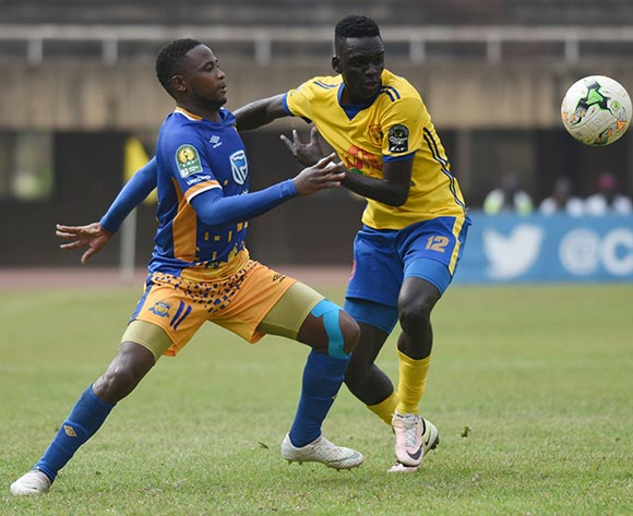Segolame Boy of Township Rollers FC (Botswana) challenges Mustafa Kizza of KCCA FC (Uganda) during the 2018 Caf Champions League on 18 August 2018 at Mandela Stadium, Namboole, Kampala. ©Ismail Kezaala/BackpagePix