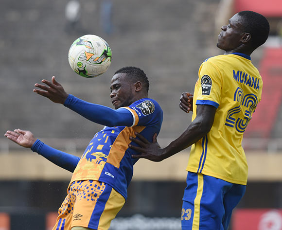 Hassan Musana of KCCA FC (Uganda) challenge Segolame Boy of Township Rollers FC (Botswana) during the 2018 Caf Champions League on 18 August 2018 at Mandela Stadium, Namboole, Kampala. ©Ismail Kezaala/BackpagePix