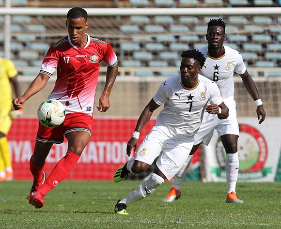 epa07005997 Kenya's Ismael Athuman (L) in action during the 2019 Africa Cup of Nations (AFCON) qualifier match between Kenya and Ghana at the Kasarani Stadium in Nairobi, Kenya, 08 September 2018.  EPA/Daniel Irungu