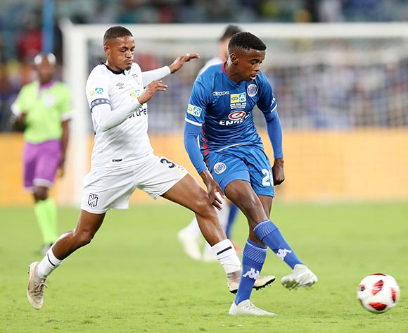 Teboho Mokoena of Supersport United challenged by Graig Martin of Cape Town City during the 2018 MTN8 Final match between Supersport United and Cape Town City at the Moses Mabhida Stadium, Durban on 29 September 2018 ©Muzi Ntombela/BackpagePix