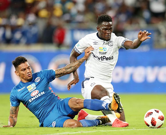 Siphelele Mthembu of Cape Town City challenged by Clayton Daniels of Supersport United during the 2018 MTN8 Final match between Supersport United and Cape Town City at the Moses Mabhida Stadium, Durban on 29 September 2018 ©Muzi Ntombela/BackpagePix