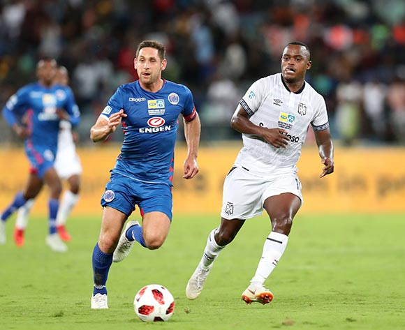 Ayanda Patosi of Cape Town City challenged by Dean Furman of Supersport United during the 2018 MTN8 Final match between Supersport United and Cape Town City at the Moses Mabhida Stadium, Durban on 29 September 2018 ©Muzi Ntombela/BackpagePix