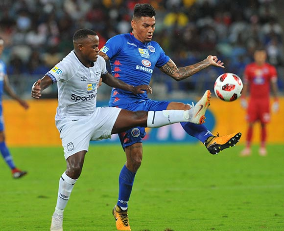 Ayanda Patosi of Supersport United challenges Clayton Daniels of Cape Town City during 2018 MTN8 Final match between Supersport United and Cape Town City on the 29 September 2018 at Moses Mabhida Stadium , Durban / Pic Sydney Mahlangu/BackpagePix