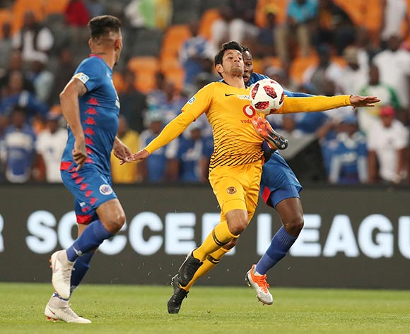 Leonardo Castro of Kaizer Chiefs challenged by Bongani Khumalo of Supersport United during the 2018 Currie Cup2018 MTN8 Semi Final 2nd Leg match between Kaizer Chiefs and Supersport United at the FNB Stadium, Johannesburg on 01 September 2018 ©Muzi Ntombela/BackpagePix