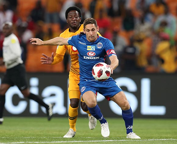 Dean Furman of Supersport United challenged by Siphelele Ntshangase of Kaizer Chiefs during the 2018 Currie Cup2018 MTN8 Semi Final 2nd Leg match between Kaizer Chiefs and Supersport United at the FNB Stadium, Johannesburg on 01 September 2018 ©Muzi Ntombela/BackpagePix