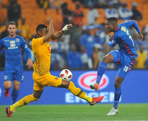Evans Rusike of Supersport United has is shot blocked by Siyabonga Nguzana of Kaizer Chiefs during the MTN8 Semi Final 2nd Leg match between Kaizer Chiefs and Superspot United on the 01 September 2018 at FNB Stadium / Pic Sydney Mahlangu/BackpagePix