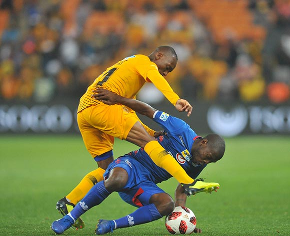 Aubrey Modiba of Supersport United is tackled by Khama Billiat of Kaizer Chiefs during the MTN8 Semi Final 2nd Leg match between Kaizer Chiefs and Superspot United on the 01 September 2018 at FNB Stadium / Pic Sydney Mahlangu/BackpagePix