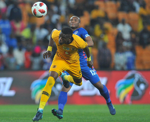 Teenage Radebe of Kaizer Chiefs is challenged by Thuso Phala of Supersport United  during the MTN8 Semi Final 2nd Leg match between Kaizer Chiefs and Superspot United on the 01 September 2018 at FNB Stadium / Pic Sydney Mahlangu/BackpagePix