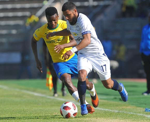 Riyaad Norodien of  Cape Town City Tis challenged by Themba Zwane of Mamelodi Sundowns  during the MTN8 Semi Final 2nd Leg match between Mamelodi Sundowns and Cape Town City on the 02 September 2018 at Lucas Moripe Stadium / Pic Sydney Mahlangu/BackpagePix