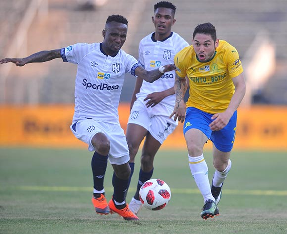 Teko Modise of  Cape Town City challenges Ali Meza of Mamelodi Sundowns  during the MTN8 Semi Final 2nd Leg match between Mamelodi Sundowns and Cape Town City on the 02 September 2018 at Lucas Moripe Stadium / Pic Sydney Mahlangu/BackpagePix