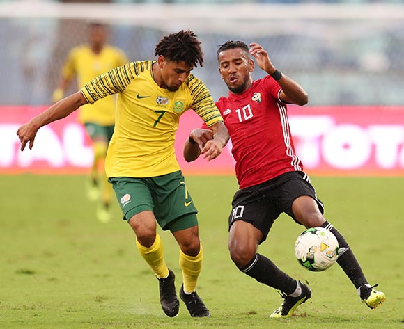 Hamdou Elhouni of Libya challenged by Keagan Dolly of South Africa during the 2019 African Cup Of Nations Qualifier match between South Africa and Libya at the Moses Mabhida Stadium, Durban on 08 September 2018 ©Muzi Ntombela/BackpagePix