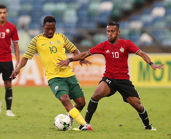 Sibusiso Vilakazi of South Africa challenged by Hamdou Elhouni of Libya during the 2019 African Cup Of Nations Qualifier match between South Africa and Libya at the Moses Mabhida Stadium, Durban on 08 September 2018 ©Muzi Ntombela/BackpagePix
