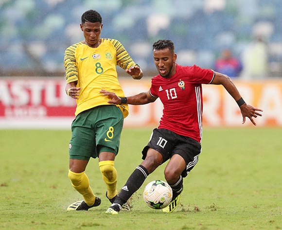 Hamdou Elhouni of Libya challenged by Vincent Pule of South Africa during the 2019 African Cup Of Nations Qualifier match between South Africa and Libya at the Moses Mabhida Stadium, Durban on 08 September 2018 ©Muzi Ntombela/BackpagePix