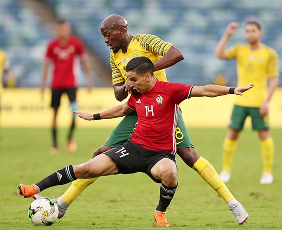 Muaid Salem Ali of Libya challenged by SFiso Hlanti of South Africa during the 2019 African Cup Of Nations Qualifier match between South Africa and Libya at the Moses Mabhida Stadium, Durban on 08 September 2018 ©Muzi Ntombela/BackpagePix