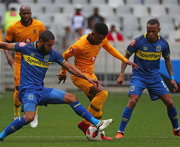 Dumisani Zuma of Kaizer Chiefs tackled by Ebrahim Seedat of Cape Town City during the Absa Premiership 2018/19 football match between Cape Town City FC and Kaizer Chiefs at Cape Town Stadium, Cape Town, 15 September 2018 ©Chris Ricco/BackpagePix