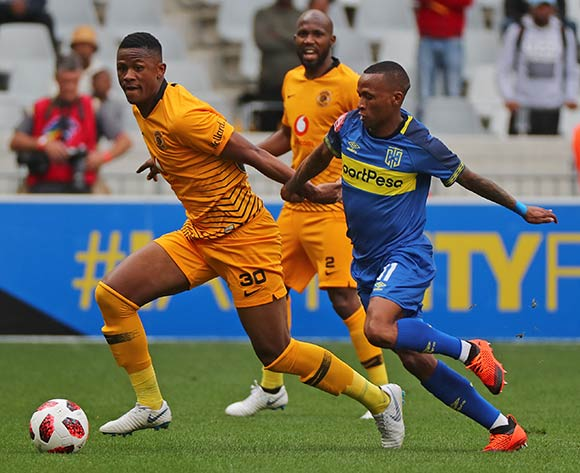 Siyabonga Ngezana of Kaizer Chiefs evades challenge from Surprise Ralani of Cape Town City during the Absa Premiership 2018/19 football match between Cape Town City FC and Kaizer Chiefs at Cape Town Stadium, Cape Town, 15 September 2018 ©Chris Ricco/BackpagePix