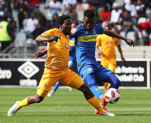 Siphelele Ntshangase of Kaizer Chiefs tackles Mpho Matsi of Cape Town City during the Absa Premiership 2018/19 football match between Cape Town City FC and Kaizer Chiefs at Cape Town Stadium, Cape Town, 15 September 2018 ©Chris Ricco/BackpagePix