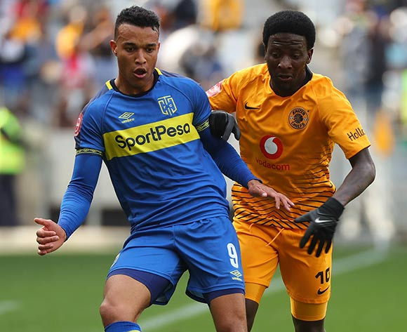 Matthew Rusike of Cape Town City challenged by Siphelele Ntshangase of Kaizer Chiefs during the Absa Premiership 2018/19 football match between Cape Town City FC and Kaizer Chiefs at Cape Town Stadium, Cape Town, 15 September 2018 ©Chris Ricco/BackpagePix