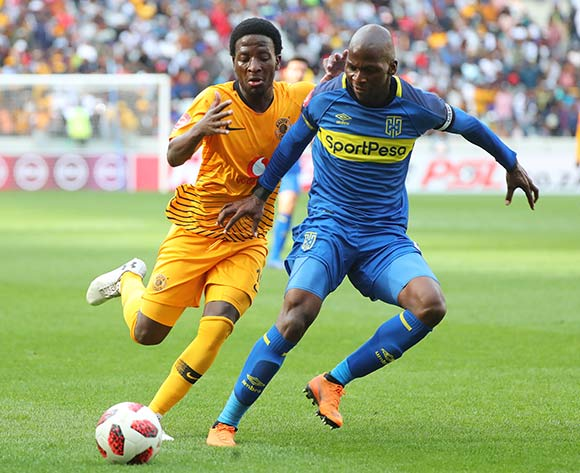 Thami Mkhize of Cape Town City challenged by Siphelele Ntshangase of Kaizer Chiefs during the Absa Premiership 2018/19 football match between Cape Town City FC and Kaizer Chiefs at Cape Town Stadium, Cape Town, 15 September 2018 ©Chris Ricco/BackpagePix