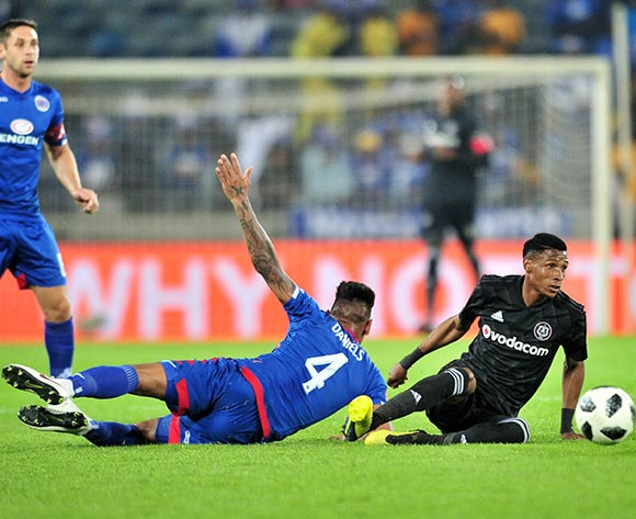 Vincent Pule of Orlando Pirates challenged by Clayton Daniels of Supersport United during the Absa Premiership 2018/19 match between Orlando Pirates and Supersport United at Orlando Stadium, Johannesburg on 15 September 2018 ©Samuel Shivambu/BackpagePix
