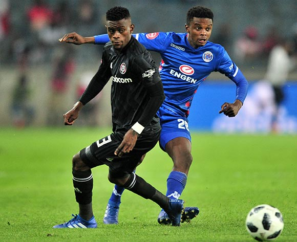Teboho Mokoena of Supersport United challenged by Innocent Maela of Orlando Pirates during the Absa Premiership 2018/19 match between Orlando Pirates and Supersport United at Orlando Stadium, Johannesburg on 15 September 2018 ©Samuel Shivambu/BackpagePix