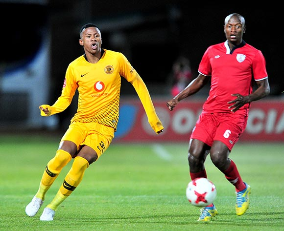 Siyabonga Ngezana of Kaizer Chiefs challenged by Judas Moseamedi of Free State Stars during the Absa Premiership 2018/19 match between Free State Stars and Kaizer Chief at Goble Park Stadium, Bethlehemon 18 September 2018 ©Samuel Shivambu/BackpagePix