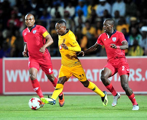 Khama Billiat of Kaizer Chiefs challenged by Paulus Masehe and Nyiko Mobbie of Free State Stars during the Absa Premiership 2018/19 match between Free State Stars and Kaizer Chief at Goble Park Stadium, Bethlehemon 18 September 2018 ©Samuel Shivambu/BackpagePix