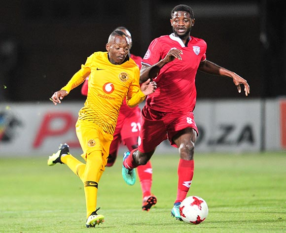 Khama Billiat of Kaizer Chiefs challenged by Cesair Gande of Free State Stars during the Absa Premiership 2018/19 match between Free State Stars and Kaizer Chief at Goble Park Stadium, Bethlehemon 18 September 2018 ©Samuel Shivambu/BackpagePix