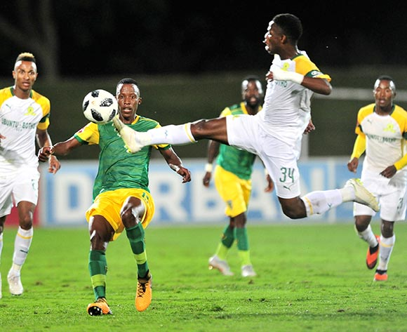 Divine Lunga of Golden Arrows challenged by Phakamani Mahlambi of Mamelodi Sundowns  during the Absa Premiership 2018/19 match between Golden Arrows and Mamelodi Sundowns at Princess Magogo Stadium, Durban on 19 September 2018 ©Samuel Shivambu/BackpagePix
