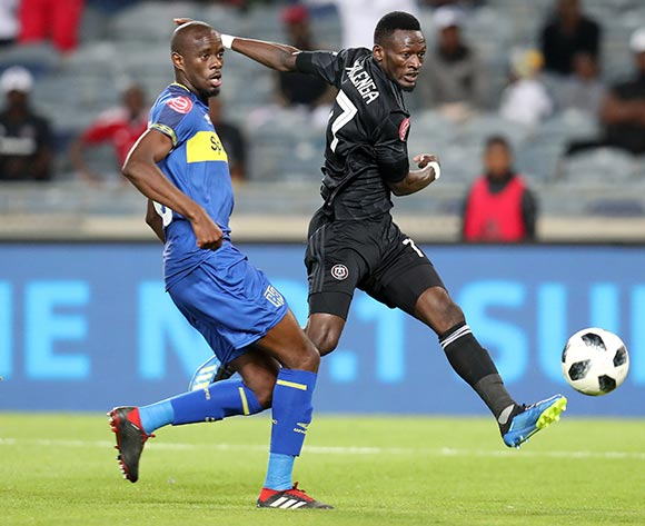 Augustine Mulenga of Orlando Pirates challenged by Kwanda Mngonyama of Cape Town City during the Absa Premiership 2018/19 match between Orlando Pirates and Cape Town City at the Orlando Stadium, Soweto on 19 September 2018 ©Muzi Ntombela/BackpagePix