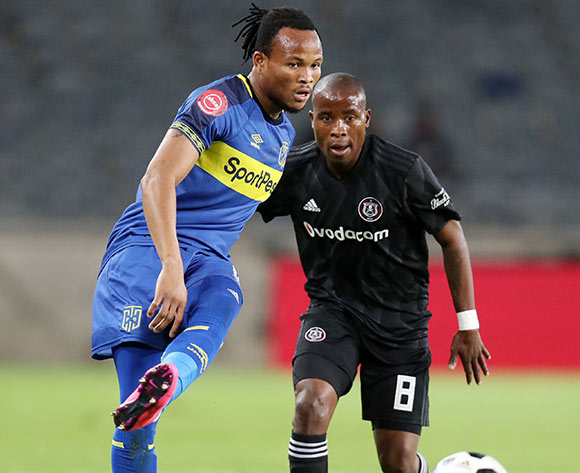 Edmilson Dove of Cape Town City challenged by Thabo Matlaba of Orlando Pirates during the Absa Premiership 2018/19 match between Orlando Pirates and Cape Town City at the Orlando Stadium, Soweto on 19 September 2018 ©Muzi Ntombela/BackpagePix